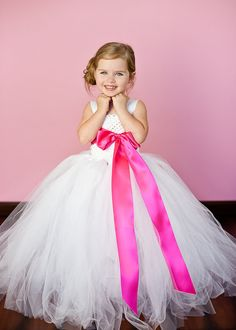 Flower Girl Tutu Dress in White with Hot by TheLittlePeaBoutique, $85.00