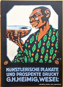 """c1930 HEIMIG Rare GERMAN Advertising Poster Art / Vintage Deutschen Werbe Kunst. Small but delightful c1930 German advertising art (""""mini poster""""), measuring 7 3/8 x 10 inches, original advertisement from a period German magazine, printed by G.H. Heimig, graphic artist of Wesel, Germany."""