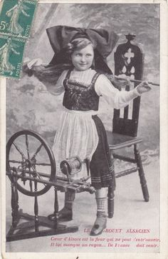 alsace france, girl with wheel