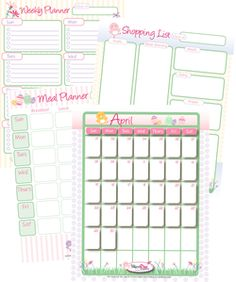 Customize your shopping list, meal plan worksheet and calender for every month.