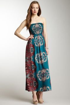 Strapless Smock Top Printed Maxi Dress. I  love the color and pattern on this dress.
