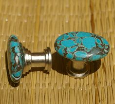 Cabinet Knobs Turquoise and Black Set of 2 by KnuckleheadKnobs