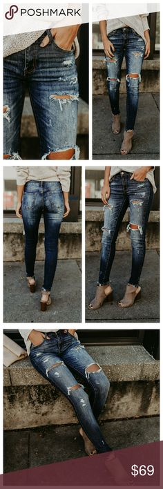 ️ distressed frayed skinny jeans New distressed frayed denim skinny jeans. Frayed ankl, dark wash, super soft, and some stretch!  98% cotton 2% spandex Jeans