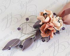 Polymer clay floral necklace pendant dusty pink peach rose quartz flowers, lavender purple violet leaves. Wedding unique statement necklace