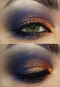 Smoky eye makeup, blue and copper Love this contrast! Copper Eye Makeup, Copper Eyeshadow, Orange Eyeshadow, Smoky Eye Makeup, Blue Eye Makeup, Makeup For Brown Eyes, Eyeshadow Looks, Makeup Tips, Beauty Makeup