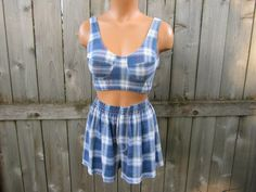 d5844d482a8fe Items similar to Vintage Blue Plaid Bra Top and Matching Shorts Set. 80's  High Waist Shorts and Halter Top Set. size L. on Etsy