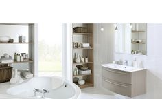 Discover our collection of relaxed atmosphere bathrooms, with its zen-inspired bespoke furniture and walk-in shower. Choose your materials, colors and design your custom bathroom with Schmidt. Sink Vanity Unit, Double Sink Vanity, Vanity Units, Custom Made Furniture, Bespoke Furniture, Living Room Storage, Storage Spaces, Made To Measure Wardrobes, Bathroom Furniture Design