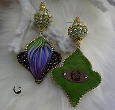"""Lo Scrigno dei Gioielli: """"Firenze"""" Earrings...Soutache 3D and Bead Embroidery shibori ribbon silk"""