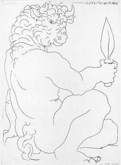 """PICASSO/""""Minotauro sentado con puñal III"""" (1933)."""