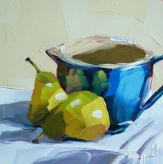 Two Pears and Blue Batter Bowl original still life oil painting by Moulton 6 x 6 inches on panel prattcreekart