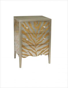 Traditional Silver Wood Drawers Accent Chest