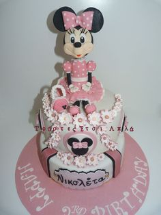 Minnie Mouse Cake Pink Cakes, Fancy Cakes, Minnie Mouse Cake, Mickey Mouse, Cake & Co, Mini Mouse, Minnie Birthday, Character Cakes, Disney Cakes