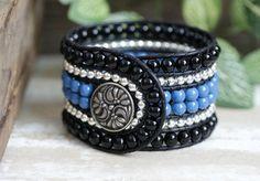 Wide Beaded Leather Cuff, 6 Row, Wrap Bracelet, Handmade, Black, Blue, Silver, Beaded Bracelet, Boho Leather Jewelry