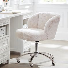 Work time has never been this comfy. With one sit in our faux-fur swivel chair, you'll feel instantly comfy and study-ready. Made with thick plush seating, our Polar Bear Faux-Fur Chair is perfect for working, searching the web or making on creati… Chairs For Rent, Old Chairs, Chairs For Sale, Desk Chairs, Black Chairs, Office Chairs, Dining Chairs, Ikea Chairs, Cafe Chairs