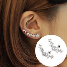 Korean Jewelry 2016 New CZ Stud Earrings For Women Climber Ear Clip Cuffs…