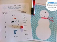 "Here is a fun free printable game for your kids. They can easily ""build"" snowmen indoors!"