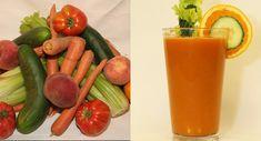 Rainbow Summer Juice:5 celery stalks, 1/2 medium cucumber, 1 large carrot, 1 medium tomato, 1/2 medium orange, 1/2 medium peach