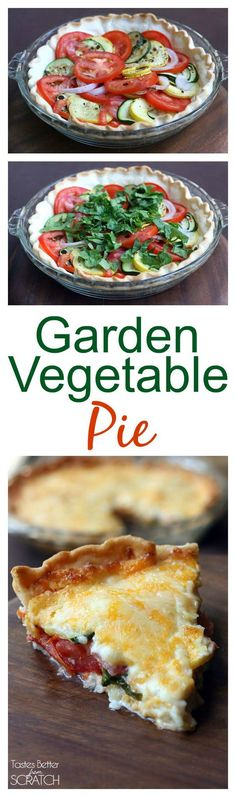 My FAVORITE way to use up zucchini squash and tomatoes. This Garden Vegetable Pie is easy and delicious!!