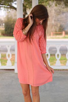 Weaver Of Gold Dress, Coral