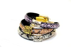 Snake Skin Leather Bracelet with Silver or Golden by OxyFineCrafts