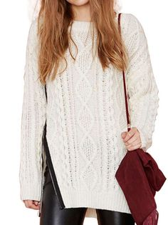 Fashionable Women O-Neck Full Sleeve Pure Color Knitted   Leisure Pullover Sweater on buytrends.com