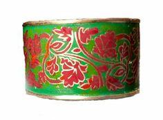 Cuff Bracelet- Kashmiri Bracelet - Enamel Jewelry - Green Stacking bracelet,Mens Cuff,Womens Cuff ,Tribal Jewelry, Statement Cuff Bracelet,Taneesi Taneesi. $28.99