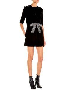 Saint Laurent Babydoll crystal bow-front velvet mini dress