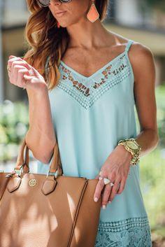 Blue Shift Dress, Orange Kendra Scott Earrings