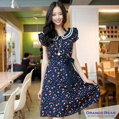 $30 YESSTYLE: OrangeBear- Heart-Print Chiffon Dress
