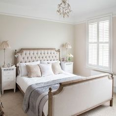 French-Inspired Bedroom Edwardian Home In Essex House Tour Photo Gallery Ideal Home Housetohome. Neutral Bedrooms, Shabby Chic Bedrooms, Bedroom Vintage, Neutral Bedroom Blinds, Bedroom Colour Schemes Neutral, Country Bedrooms, Two Bedroom House, Home Bedroom, Calm Bedroom