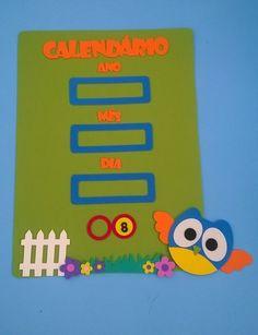 Painel de Calendário simples Coruja www.petilola.com.br
