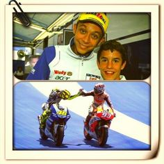 Valentino with his biggest fan, Marc Marquez, who is now beating who Marc Marquez, Velentino Rossi, Akali League Of Legends, Harley D, Valentino Rossi 46, Biker Quotes, Vr46, Hot Bikes, Motorcycle Helmets