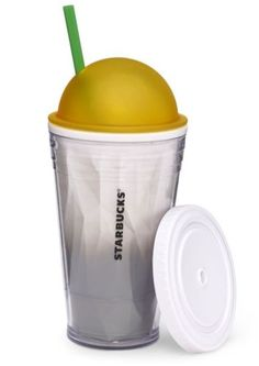 Starbucks Cold Cup Tumbler Yellow Dome Lid Collectible Summer 2013 BPA Free New | eBay