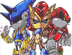 mecha sonic,sally,and knuckles by trunks24.deviantart.com on @deviantART