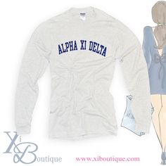 Looking for something simple and classic for the fall and winter?! We have you covered with our classic gray Alpha Xi Delta long sleeve!