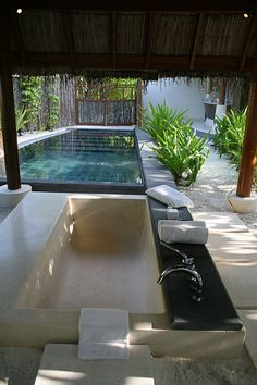 open air bathroom and plunge pool