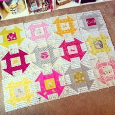 Pink Stitches - loving Bonnie's churn dash quilt! The texty parts and the colors- fab! @Bonnie Rosales