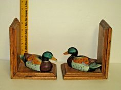 RARE Vintage Mallard Duck Book Ends Beautifully Painted Ceramic Ducks on Wood