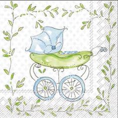 IHR Rosanne Beck Baby Shower Carriage Blue Printed 3-Ply Paper Cocktail Napkins Wholesale C707649