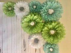 Giant sage, blue and white paper flower backdrop for bridal showers, baby showers, weddings, party decor and photo backdrops by MacaroniMinx on Etsy Paper Daisy, Pink Paper, White Paper, Paper Flower Backdrop Wedding, Bridal Shower Backdrop, Tissue Paper Flowers, Paper Flower Wall, Daisy Background, Paper Sunflowers
