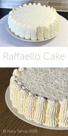 Delicious Reffaello cake - coconut, almond and cream cake that's super easy to do and tastes amazing! Almond Coconut Cake, Almond Cakes, Coconut Cream, Delicious Cake Recipes, Yummy Cakes, Diy Cake, Cream Cake, Cup Cakes, Party Cakes