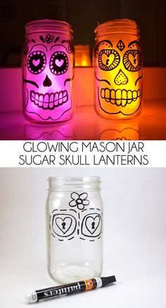Glowing Sugar Skull Mason Jar Lanterns - Dream a Little Bigger