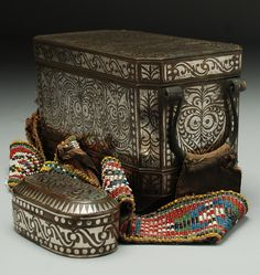 Big and Small Maranao Betel Nut containers accented by tribal beadwork