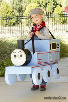 DIY Thomas the Tank Engine costume - definite possibility for the boys halloween costumes next year.