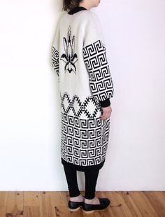 80's cardigan coat black and white long by WoodhouseStudios