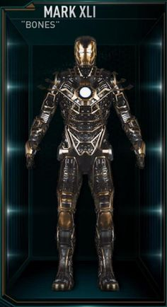 "The Mark 41 (Mark XLI), also known by its name as ""Bones"", is a Skeleton Suit, and was one of several new Iron Man Armors created by Tony Stark as part of. Marvel Dc Comics, Marvel Heroes, Marvel Movies, Marvel Avengers, Marvel Characters, Iron Man Wallpaper, Iron Men, All Iron Man Suits, Les Innocents"