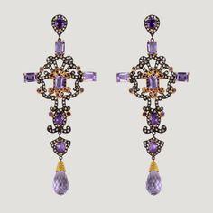 Long Cross Shape Vermeil Drop Earrings With Amethyst, White Topaz & Rhodolite  £680 (81693)