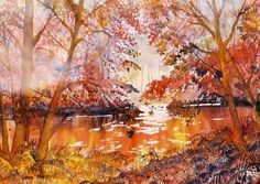 """Autumn Gold"" - original watercolour by Glenn Marshall Watercolor Paintings, Watercolour, Affordable Art, Journey, Nature, Artist, Pictures, Inspirational, Autumn"
