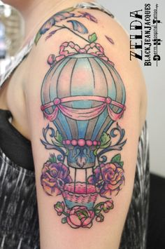 #airballoon #MarieAntoinette #rococo #roses #pastelcolors #ribbons #tattoo done by #ZeldaBlackJeanJacques Fake Tattoos, Flower Tattoos, Bjj Tattoo, Tattoo Shop, Air Balloon, Tattoo Artists, Skull, Rococo, Ribbons