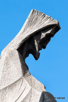One of the sculptures on the Passion Facade of the Sagrada Familia Bascillica in Barcelona.